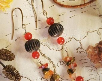 Carnelian Stone Earrings Natural Jewelry Wood Beads Orange Antique Vintage Bronze Bohemian Dangly Hippie Gypsy Boho Chic