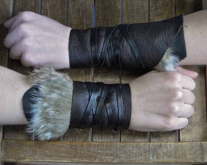 Leather Cuffs - Warrior Viking Tribal Larp Costume Cosplay - Pair #2a