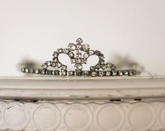 Authentic Antique Tiara w CROSS, Rhinestone French Crown Diadem //  Bridal Wedding Crown Tiara, 30s Headpiece, Hair Jewelry / Pageant Crown