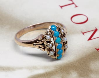 Antique 1880s Etruscan Revival Turquoise Ring, Victorian Aesthetic Turquoise Ring, Alternative Engagement Ring, Victorian Anniversary Ring