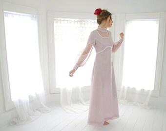 Vintage lavender maxi dress, long sleeves, boho empire waist, purple white, S sale