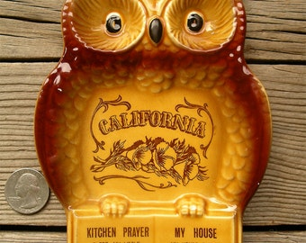 Vintage California Souvenir Owl Spoon Rest - Kitchen Prayer and My House Poem  - CA Poppy State Flower - Retro Kitchen Decor