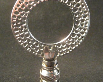 Lamp Finial-Antique Silver PERFORATED DISK Lamp Finial-Satin Nickel Base