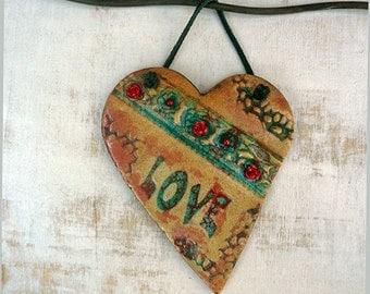 Valentine Love Heart Ornament, Shabby Heart Wall Decor, Handmade Pottery Love Sign Wall Decor, One of a Kind Ceramic Heart, Ready to Ship