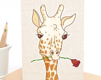 Gerard the Giraffe - with Rose - Greeting card