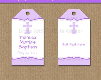 Personalized printable baptism tag favor gift tags first baptism gift tags first communion gift tags christening gift tags lavender baptism favor negle Gallery