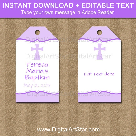 Baptism gift tags first communion gift tags christening gift baptism gift tags first communion gift tags christening gift tags lavender baptism favor tags girl baptism tag printable download i5 negle Gallery