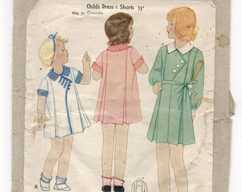 1920's McCall Girl's One-Piece Dress with Cross over front Pattern - Size 2 - No. 6966