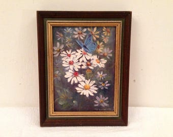 Small Vintage Oil on Canvas Board Signed VI Luebbe '73 Daisies Butterfly Wood Frame
