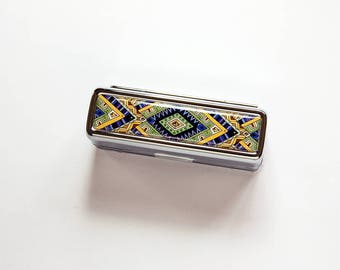 Lipstick case, Purple, Green, Yellow, Lipstick case with mirror, Lipstick holder, gift for her, stocking stuffer, oriental patterns (7689)