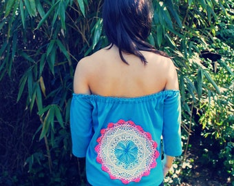 Bohemian Top Off Shoulder XS -  M/L Doily Shirt Boho Hippie Women's Upcycled Clothing Recycled Eco Friendly OOAK