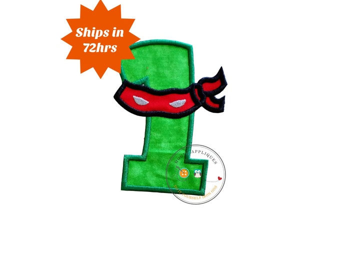 Ninja number with red and black mask, iron on birthday number 1, embroidered  birthday number, ninja theme for first birthday iron on
