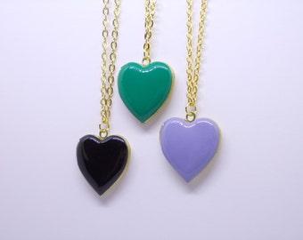 Heart locket necklace. Photo locket. Black. Lilac. Green. Secret message necklace. Enamel locket. Golden brass locket.