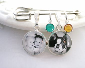 Photo Charms on Lapel Pin Gift for Groom Custom Picture Charm Jewelry Pet Photo Personalized Photo Charm Birthstone Jewelry for Wife Gift