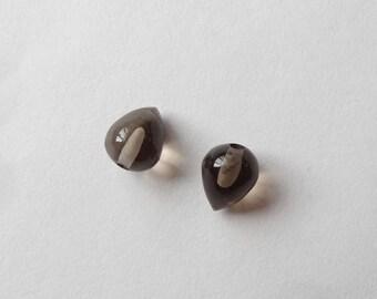 Tiny Smoky Quartz Upside Down Half Drilled Acorn Inverted Teardrops 6x8 mm One Pair G6126