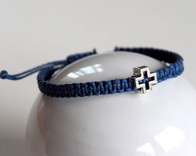 Navy blue cross macrame bracelet
