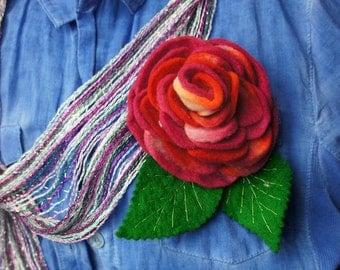 Felt Flowers, Felt Flower Brooch, Wool Flower,  Felted Rose, Christmas Gift, Flower, Rose, Felt Pin, Gift idea, Brooch, Pin, Flower Brooch,