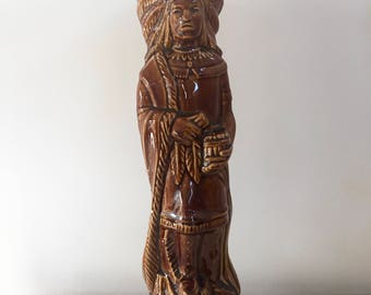 Vintage Ceramic Indian Decanter / American Indian Decanter / Indian sculpture