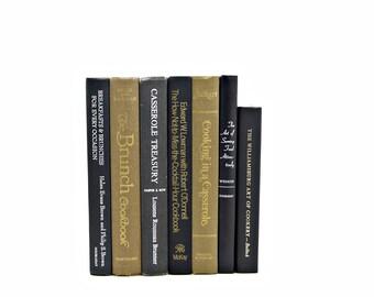 Bronze Black CookBooks, Brown Decorative Books COllection, Kitchen decor, BOok Gift Old cook book set, Antique Book Decor, Instant Library,
