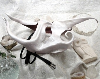 White Leather Mask, Pearl Iridescent Fantasy Eyemask, Bird Beak, Fairy, Insect Transformation Costume Piece (M43)