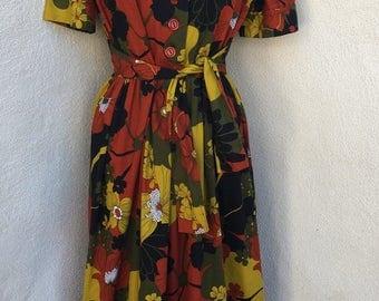 Vintage mod maxi dress fall floral colors retro buttons tie waist sz M L