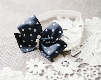 Wedding Garter Bridal Garter Belt  - Blue Garter Polka Dot Garter - Bow Garter Belt - Navy Blue Ivory Dots Garters Something Blue Garter