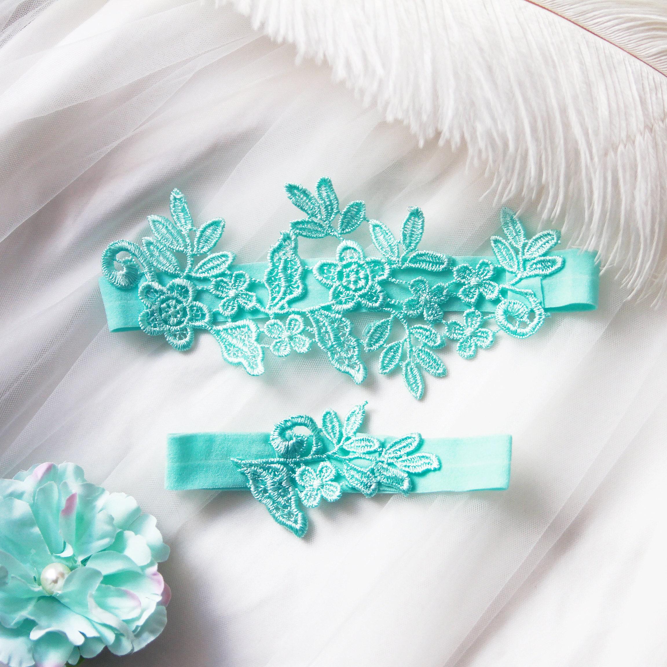 Making A Wedding Garter: Wedding Garter Set Bridal Garter Belt Aqua Blue Garter Belt