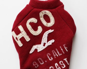 Tiny Cranberry Red Hollister Dog Sweatshirt Upcycled (XXXS)
