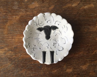 Spoon Rest Stoneware Clay WOOLLY SHEEP