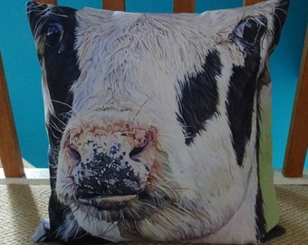 """Cow Faux Suede 18""""/ 45cm Cushion - PRE ORDER - Velveteen - Original cow art washable pillow / cushion cover zip opening complete with pad"""