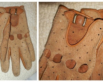 Vintage Brown Soft Leather Two Tone Driving Gloves Womens Worn sz 7 ? Rockabilly Mod
