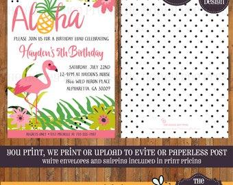 Flamingo Birthday invitation - Aloha Luau invitation - Tropical Birthday invitation - Pineapple Birthday invitation - Luau Party - Item 0349