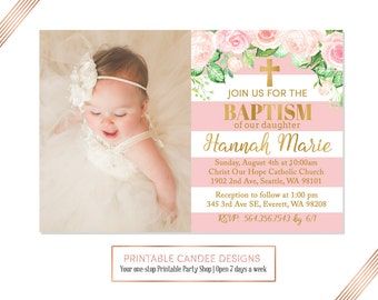 View baptism invitations by printablecandee on etsy pink gold floral baptism invitation baby girl baptism invitation christening invitation striped baptism stopboris Choice Image