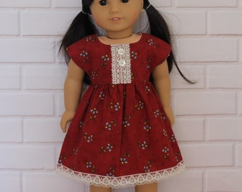 Burgundy Maroon Lace Sleeved Dress Dolls Clothes to fit 18 inch dolls to 20 inch dolls such as American Girl & Australian Girl dolls