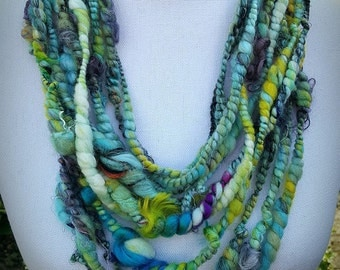 Turquoise Infinity Scarf, Handspun Art Yarn Shawl, Statement Necklace, Bohemian Shawl, Boho Necklace, Eco Jewelry, Fiber Textile Necklace
