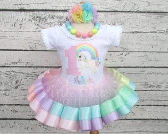 Pastel Rainbow Unicorn Ribbon Tutu - Unicorn Birthday Tutu Outfit - Pastel Rainbow Unicorn - Unicorn Birthday Dress - Ribbon Trim Tutu Set