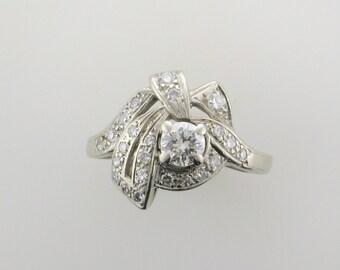 White Gold Diamond Cocktail Ring; Diamond Cocktail Ring; Cocktail Ring; Diamond Dinner Ring; Diamond Ring; Estate Diamond Ring