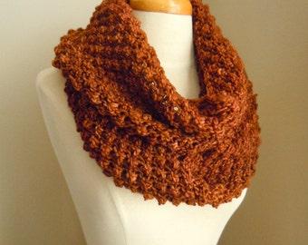 Merino wool long cowl - chocolate brown