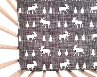 Crib Sheet Moose Trot. Fitted Crib Sheet. Baby Bedding. Crib Bedding. Minky Crib Sheet. Crib Sheets. Moose Crib Sheet.