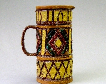 c 1960s Fratelli Franciullacci Pitcher 7in Italian Pottery Gold Brutalist Hand Carved Painted Pretzel Glaze Mid Century Modernist Italy Vint