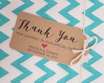Wedding Gift Tags - Thank you for sharing in our special day - Customizable Personalized (WT1701)