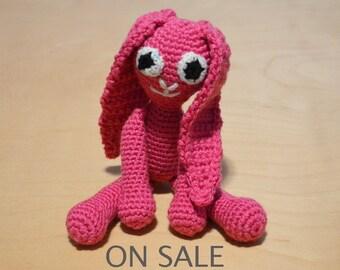 Sale, Easter Bunny, Pink Bunny, Crocheted Bunny