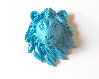 Faux Taxidermy Small Lion Head in PERIWINKLE BLUE faux animal head mini lion head mini animal head wall hanging wall mount resin wall art
