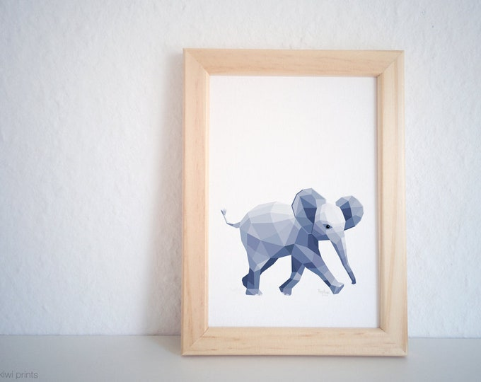 Elephant print, Baby elephant art, Elephant illustration, Geometric print, Baby animal, Children's nursery wall art, Cute animal, Kid's art