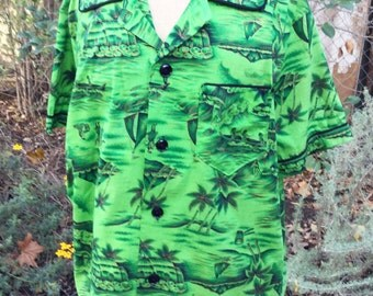 Vintage  Green mens hawaiian shirt with surfers and dancers  size L