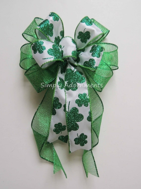 Saint Patrick's Party Decor Kelly St. Patrick's Wreath Bow Emerald Irish Shamrock Bow St Patrick door hanger bow Kelly Shamrock Lantern Bow