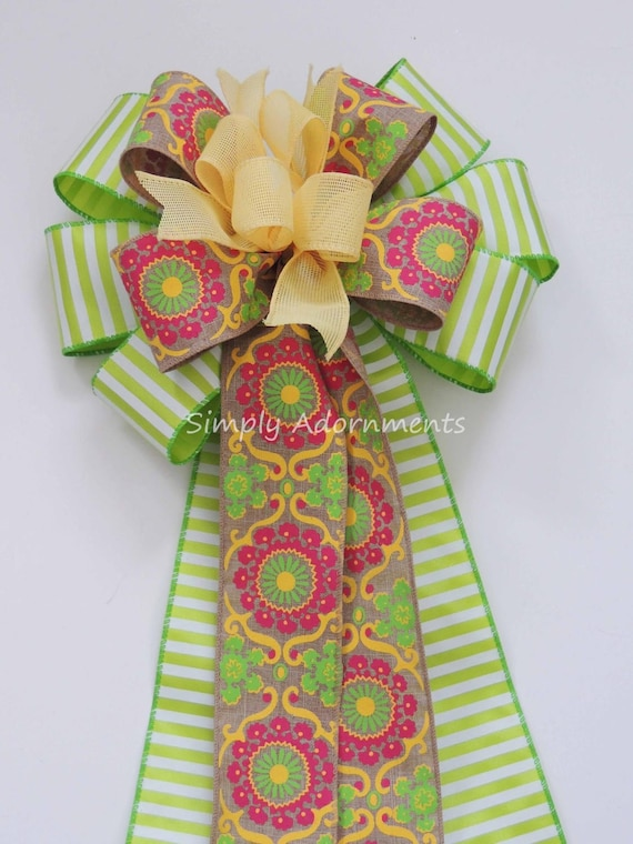 Spring Flowal Wreath Bow Pink Green Yellow Wreath Bow Chartreuse Green Spring Wedding Pew Bow Easter Gift Bow Spring Door Hanger Decor Bow
