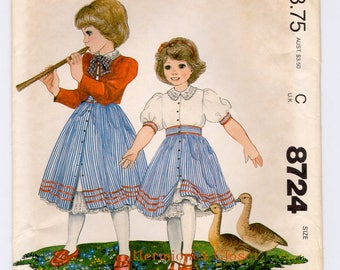 McCalls 8724, Girls jacket, Blouse-slip and Full Skirt Sewing Patterns Size 10 Chest 28, Vintage 1980s Enchanted Forest, UNCUT