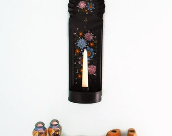 Tole Wall Sconce, Toleware Candle Holder, Hand Painted Flowers, Black Metal