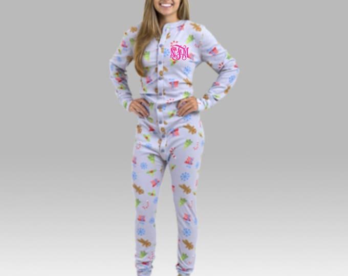Monogrammed Pajamas, Christmas Pajamas, Christmas Long Johns, Union Suit, Christmas Pajama Set, Family Pajamas, Holiday Pajamas, Bodysuit